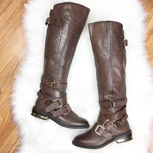 ALDO Tall Brown Boots w/ Gold Buckle & Accent Sz 6